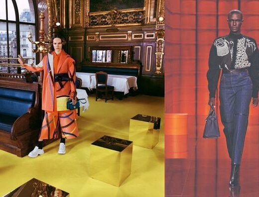 Looks from Loewe's Autumn-Winter 2021-2022 collection and Hermès' Autumn-Winter 2021-2022 collection